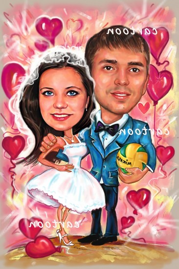 Свадебный шарж с оригинальным сюжетом в Астраханье!
