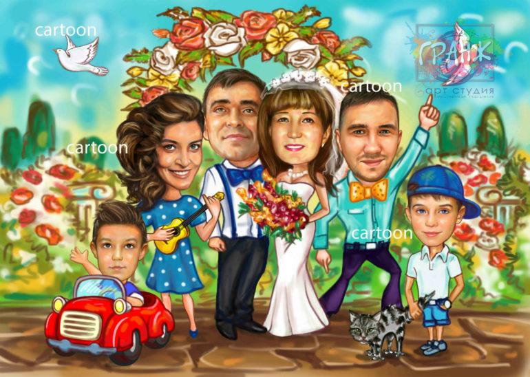 Заказать шарж по фото на годовщину свадьбы в Астрахани
