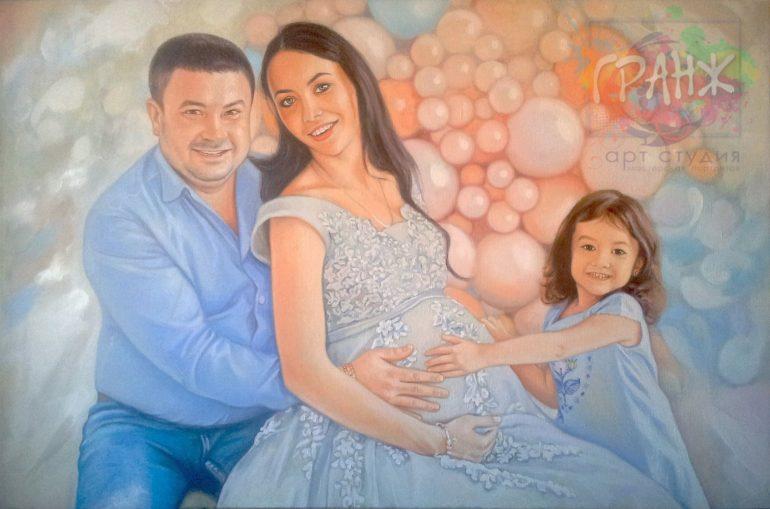 Заказать семейный портрет по фото маслом на холсте на 8 марта