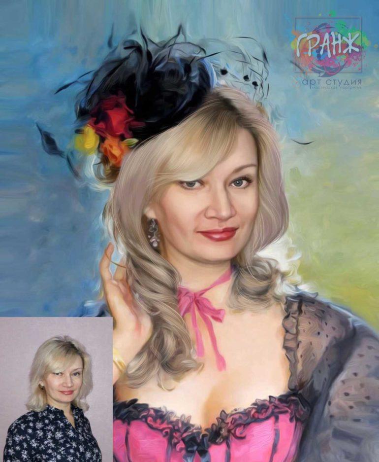 Заказать арт портрет по фото на холсте в Астрахани